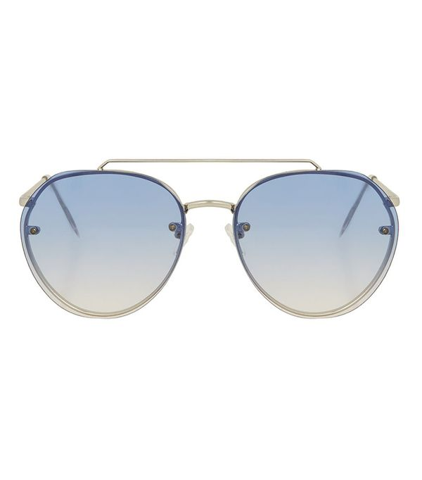 tinted blue aviator sunglasses