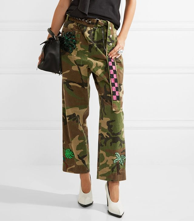 Embellished Camouflage-print Cotton-twill Tapered Pants