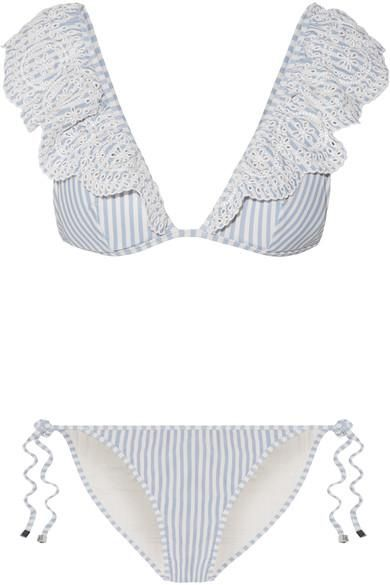 Meridian Ruffled Striped Broderie Anglaise Triangle Bikini