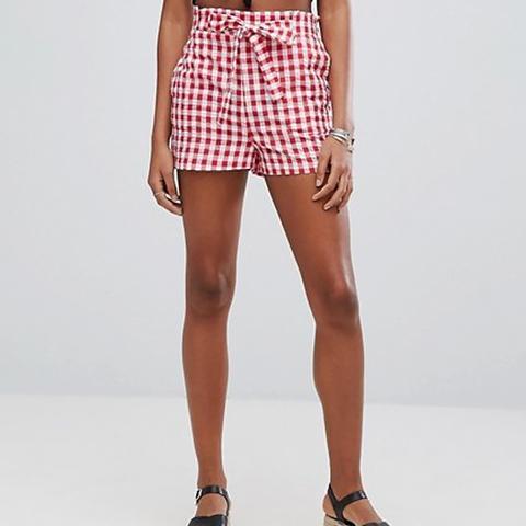High Waist Gingham Shorts