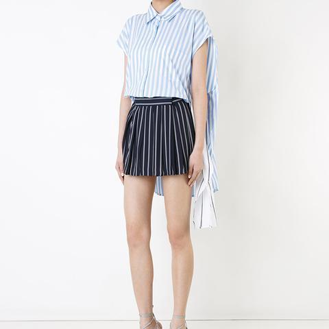High Waist Pleated Stripe Shorts