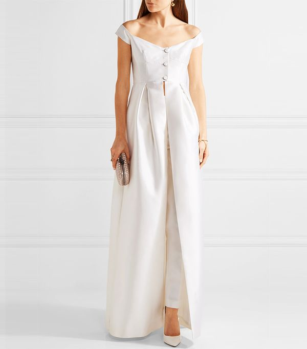 Tituba Off-the-shoulder Silk And Wool-blend Faille Gown