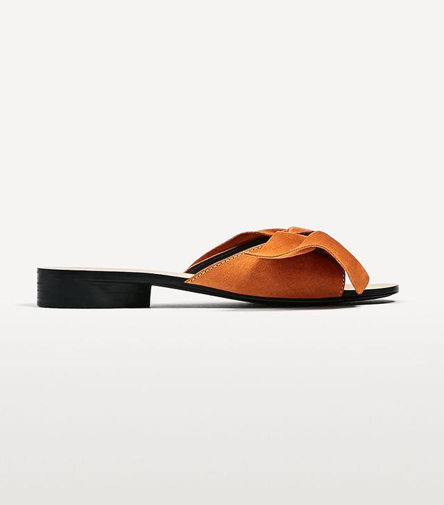 Zara Split Suede Slides With Bow