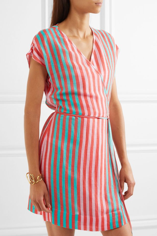 Striped Linen-blend Wrap Dress