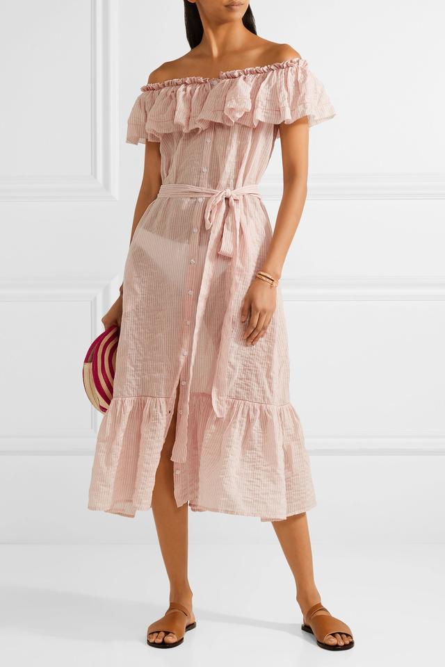 Mira Off-the-shoulder Striped Cotton-voile Midi Dress