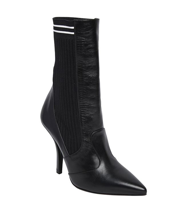 105MM LEATHER & KNIT ANKLE BOOTS