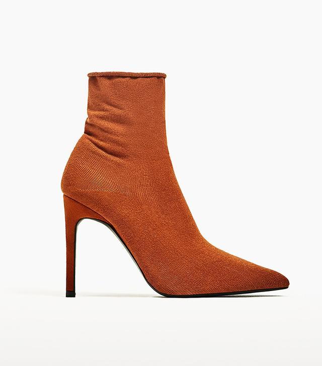 Zara High-Heel Sock Style Ankle Boots