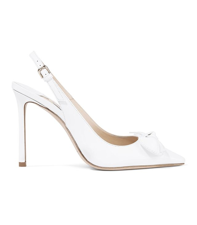 Blare Bow-embellished Patent-leather Slingback Pumps