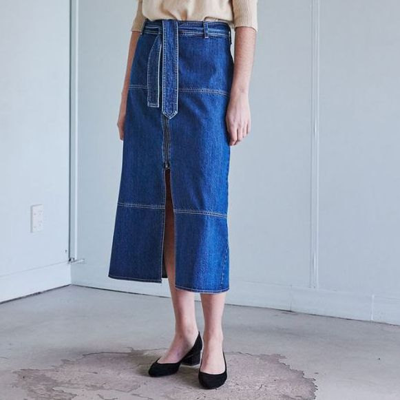 Wynn Hamlyn Denim Section Skirt - Blue