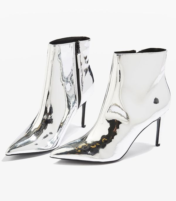 Affordable skinny jeans:Topshop Mimosa Metallic Ankle Boots