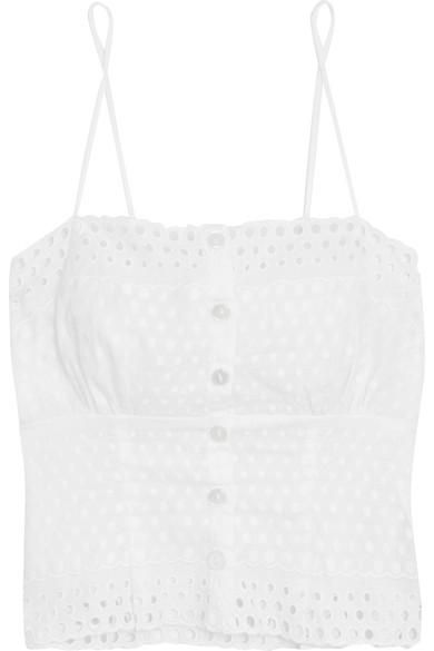 Eyelet Broderie Anglaise-trimmed Embroidered Chiffon Camisole
