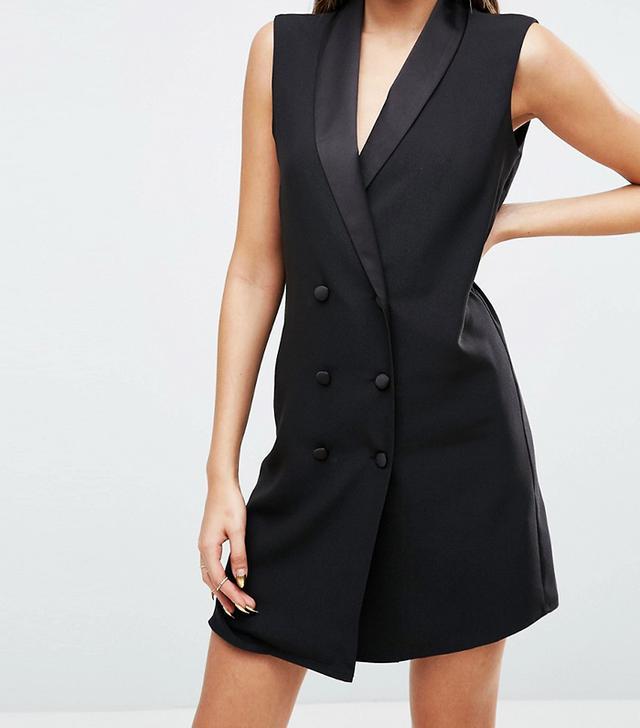 Sleeveless Tuxedo Dress