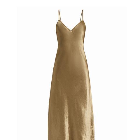 Sleeveless Satin Midi Dress