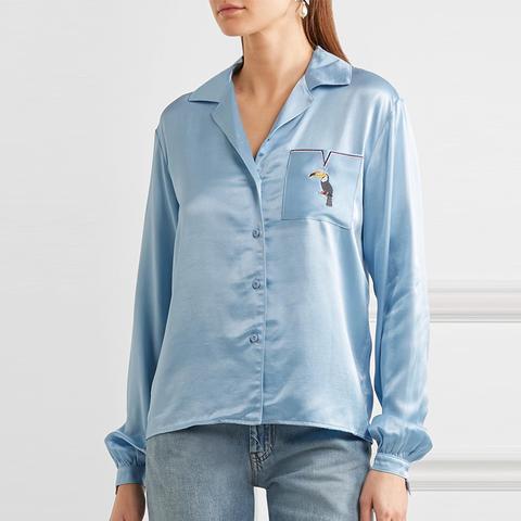 Sho Embroidered Satin Shirt