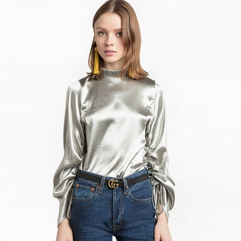 Silver Satin Rouches Sleeve Top