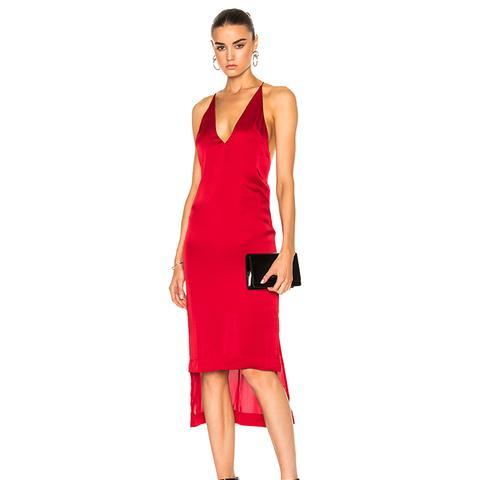Satin Fine Line Cami Dress