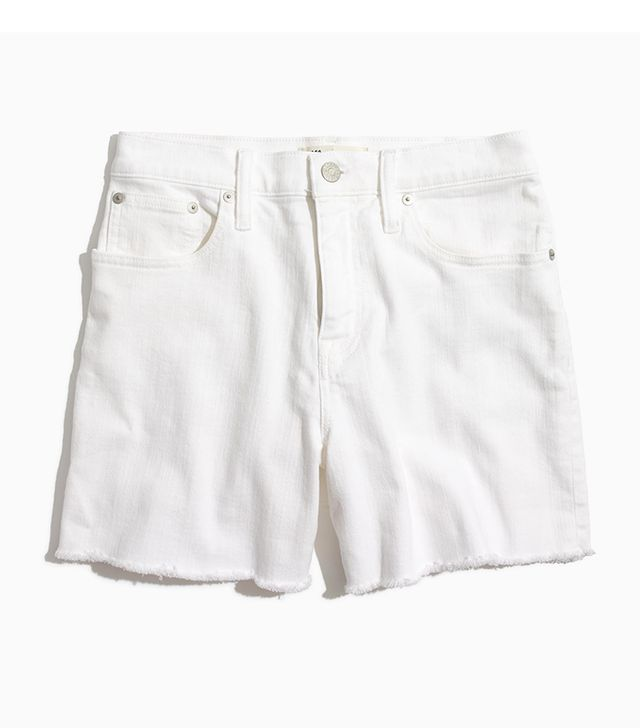 High-Rise Denim Shorts in Pure White
