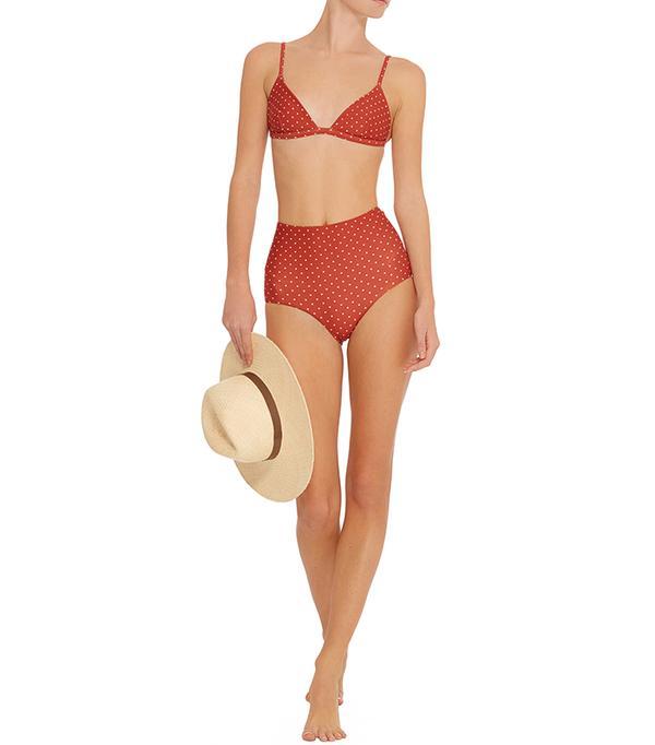 Polka-Dot Triangle Bikini Top