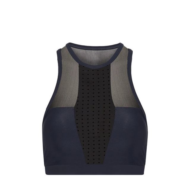 Paneled Mesh And Stretch Sports Bra