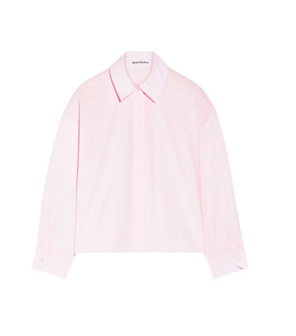 Outfits Bloggers are wearing now: Acne pink shirt
