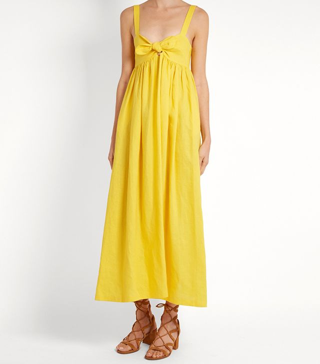 Tie-front midi linen dress