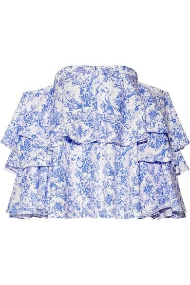 Carmen Off-the-shoulder Printed Cotton-blend Toile Top