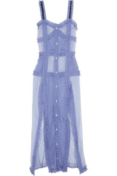 Margarita Ruffled Striped Cotton And Silk-blend Maxi Dress