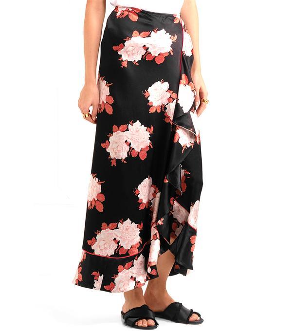Wrap-effect Floral-print Satin Maxi Skirt