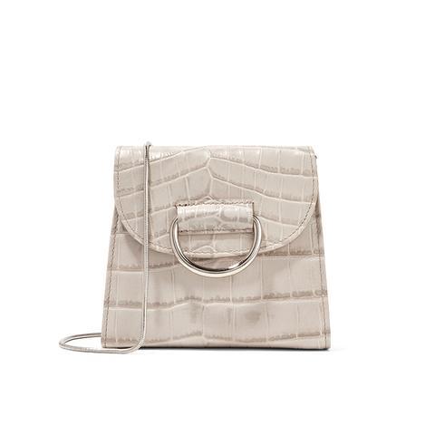 D Tiny Box Croc-Effect Leather Shoulder Bag