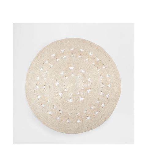 Natural-Colored Round Jute Rug