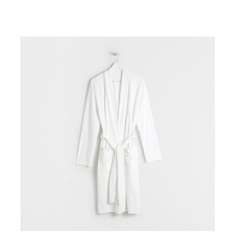 White Cotton Knit Bathrobe With Edging
