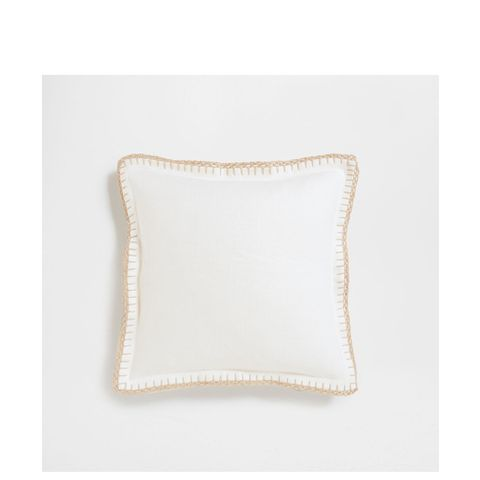 Crochet Border Linen Cushion Cover