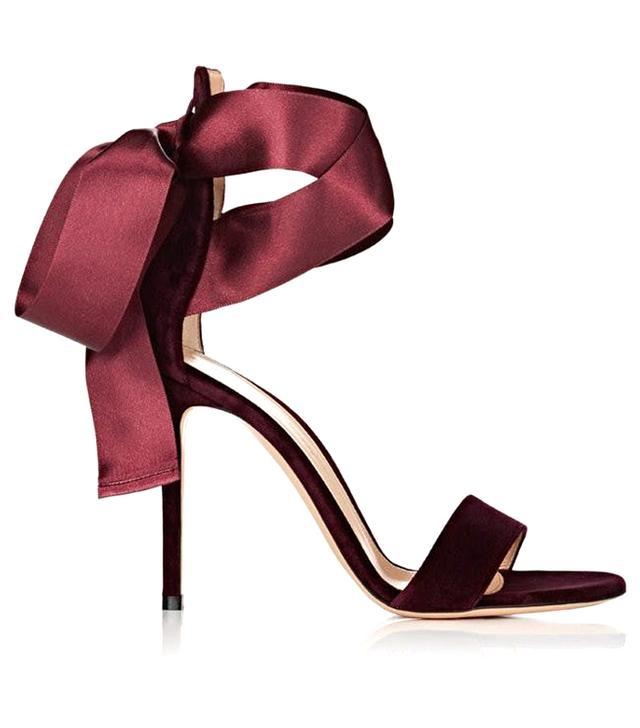 Gianvito Rossi Gala Velvet Ankle-Tie Sandals