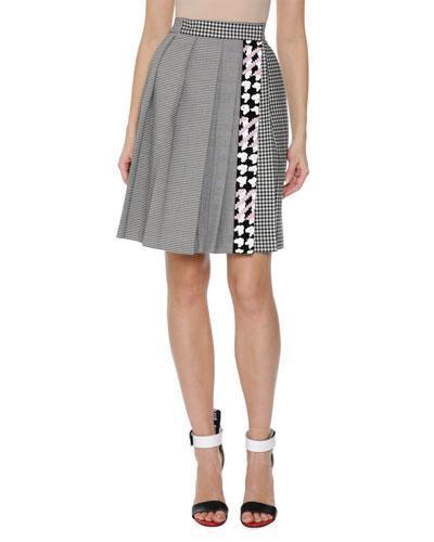 Plaid Pleated High-Waist Skirt