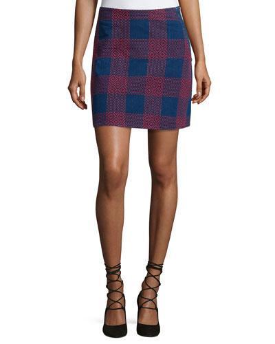 Morro Embroidered-Plaid Mini Skirt