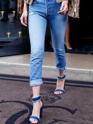 Bella Hadid Wearing Jeans and a Bra in Paris