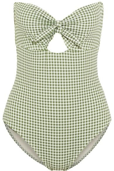 Betty Lola Cutout Gingham Bandeau Swimsuit