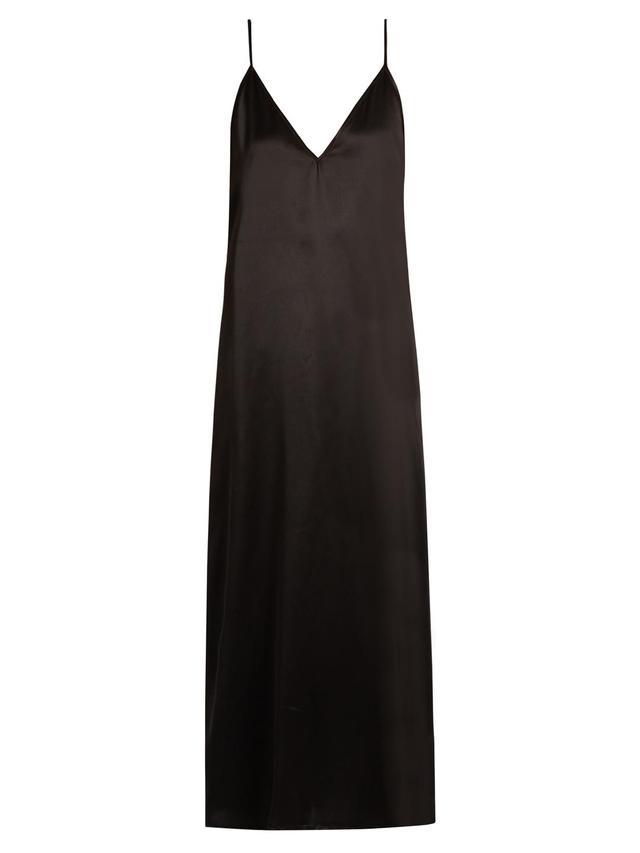 V-neck silk-satin midi slip dress