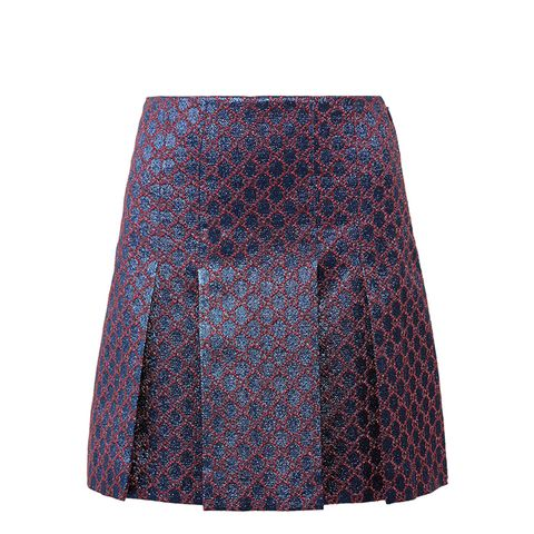 Pleated Metallic Jacquard Mini Skirt