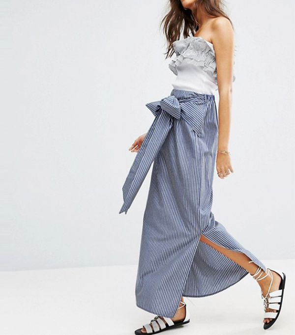 Maxi Skirt in Stripe with Bow Detail