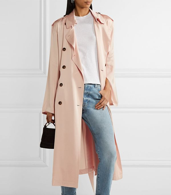 Aaron Satin Trench Coat