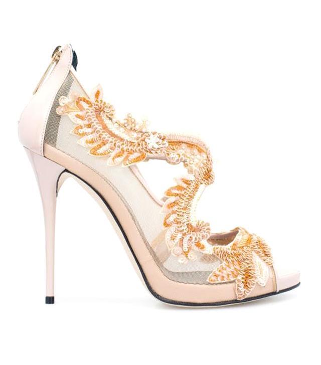 Oscar de la Renta Bisque Lace-Embroidered & Patent Ambria Platform Sandal