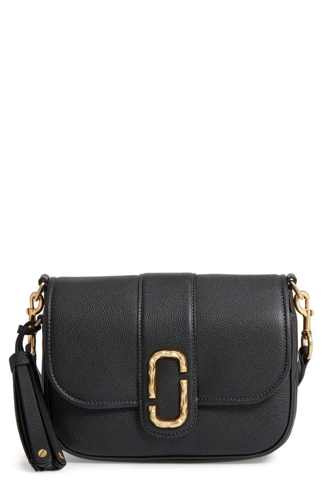 Marc Jacobs Small Courier Interlock Leather Crossbody Bag in Black