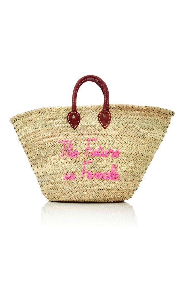 M'O Exclusive Shorty Embroidered Straw Tote