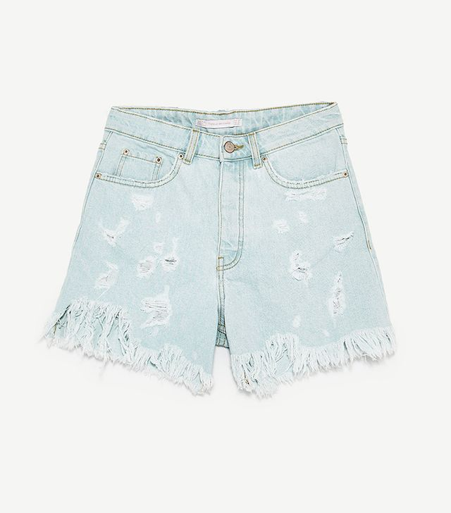 Zara Ripped Bermuda Shorts
