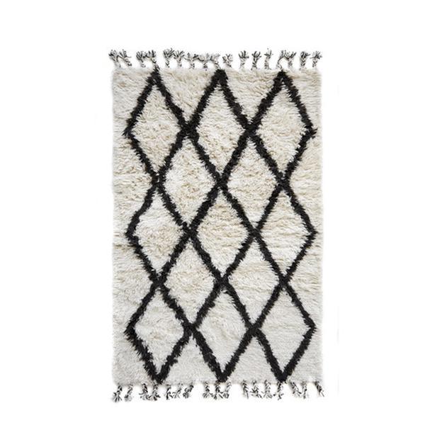 Doormat Designs Berber Wool Shag Rug Mocha Diamond