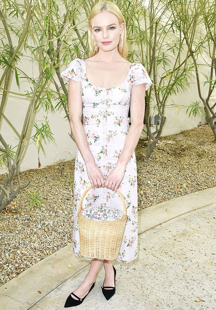 Kate Bosworth Brock Collection floral dress, Edie Parker basket bag and black Tabitha Simmons pumps.