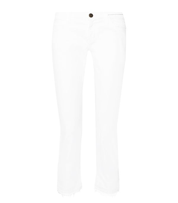 White jeans trend: Current/Elliot The Cropped Mid-Rise Straight-Leg Jeans