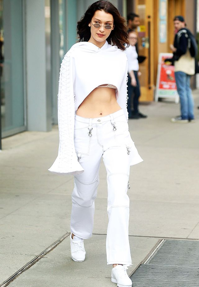 White jeans trend: Bella Hadid