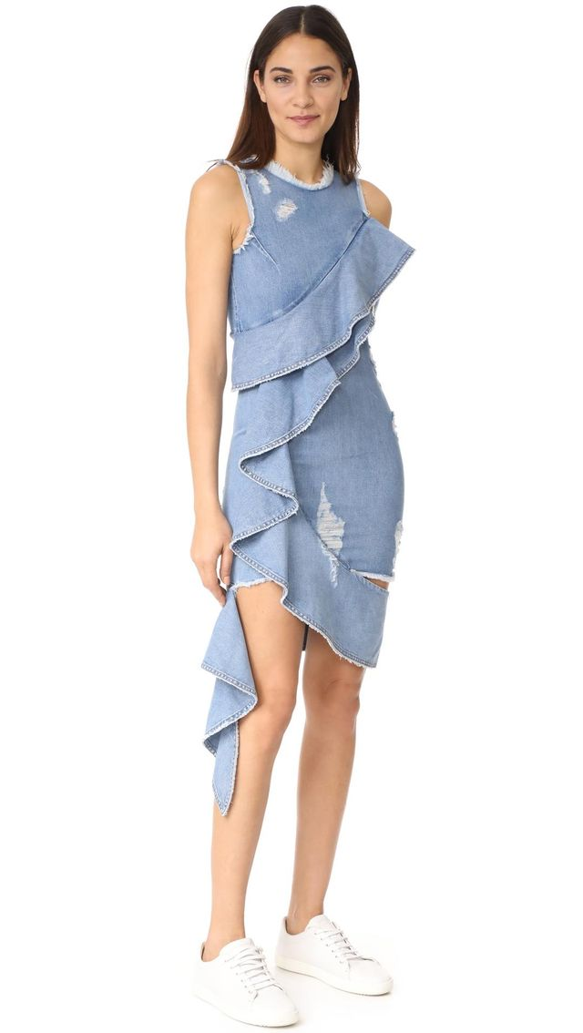 Asymmetrical Ruffle Denim Dress